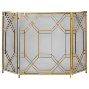 Geometric Lattice Metal Fireplace Screen - Antique Gold