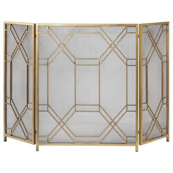Geometric Lattice Metal Fireplace Screen – Antique Gold