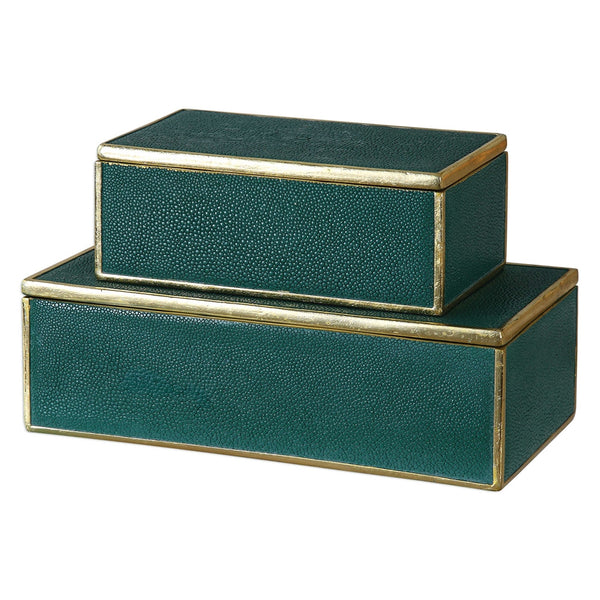Faux Shagreen Accent Boxes – Emerald & Gold (Set of 2)