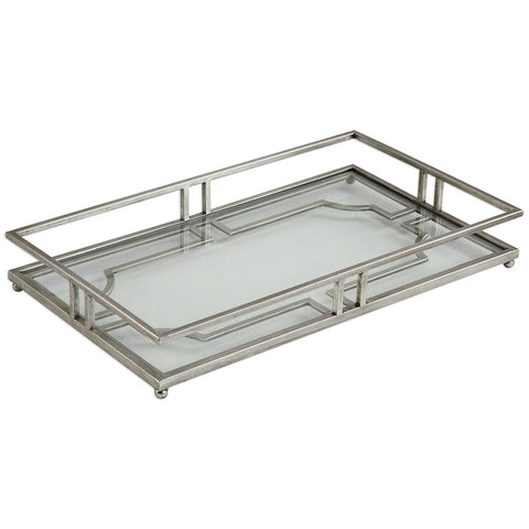 Rectangular Silver Iron & Glass Tray