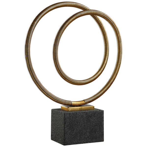 Gold Metal Twisted Coil Sculpture