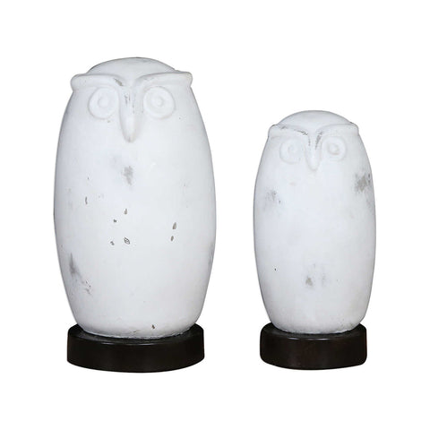 White Ceramic Owl Figurines – Set of 2