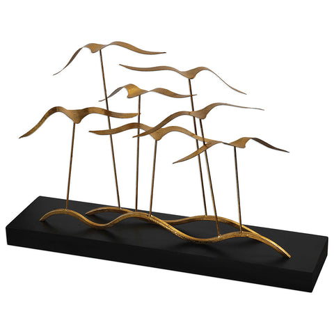 Abstract Gold Metal and Wood Seagulls Sculpture