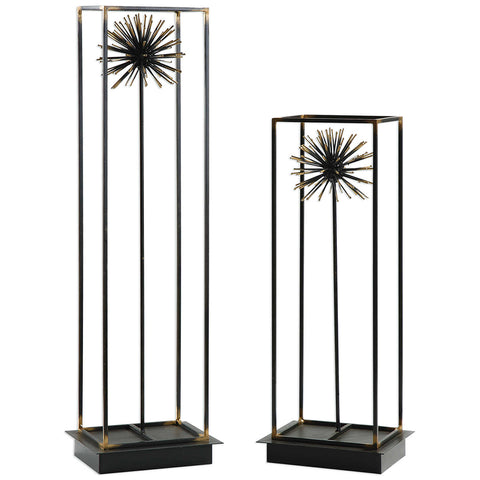 Decorative Metal Dandelions Sculpture in Steel Frames – Set of 2
