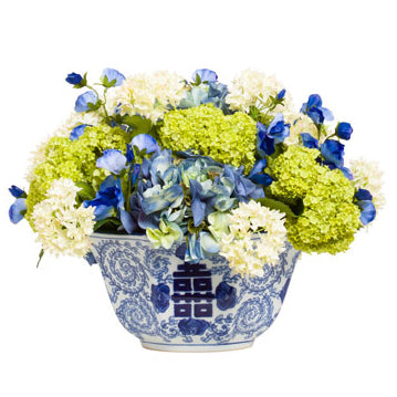 Silk Hydrangeas in Chinoiserie Bowl