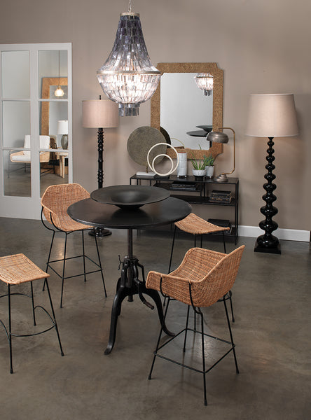 Nusa Bar Stool in Natural Rattan & Black Steel