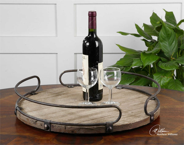 Rustic Wood & Metal Round Tray
