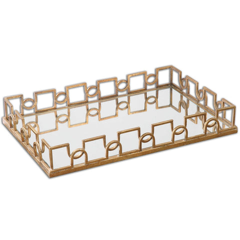 Brass Links Mirrored Rectangle Tray