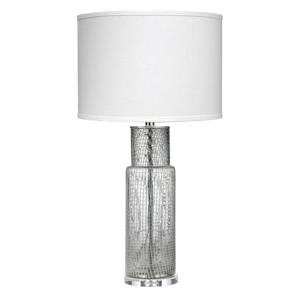 Netted Glass Cylindrical Table Lamp with Drum Shade