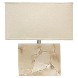 Large Alabaster Table Lamp with Rectangular Linen Shade