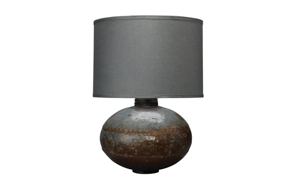 Caisson Table Lamp in Gun Metal with Classic Drum Shade in Fatigue Linen