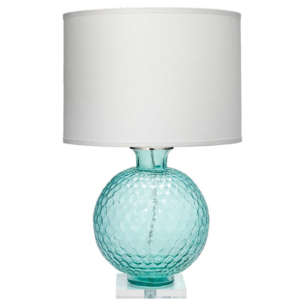 Faceted Glass Globe Table Lamp with Drum Shade – Aqua