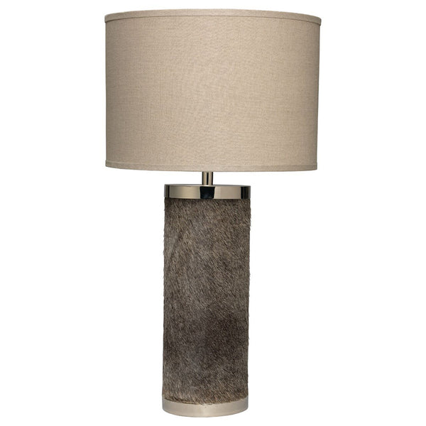 Grey Hide Column Table Lamp with Drum Shade