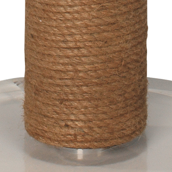 Cylinder Jute Floor Lamp in Rope with Drum Shade in Off White Linen