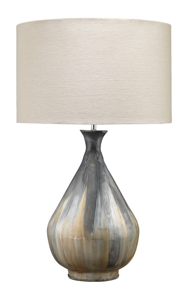 Daybreak Table Lamp in Grey Enameled Metal with Drum Shade in Stone Linen
