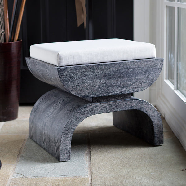 Worlds Away Oak Stool with White Linen Cushion – Black