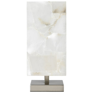 Square Alabaster and Silver Table Lamp