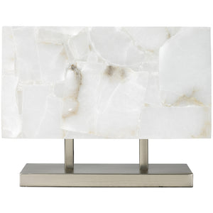 Rectangular Alabaster and Silver Table Lamp