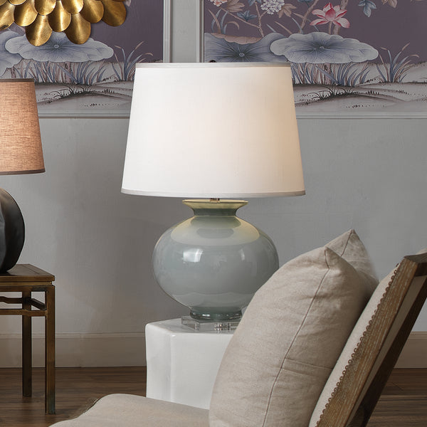 Heirloom Table Lamp in Cornflower Blue Glass with Large Open Cone Shade in White Silk