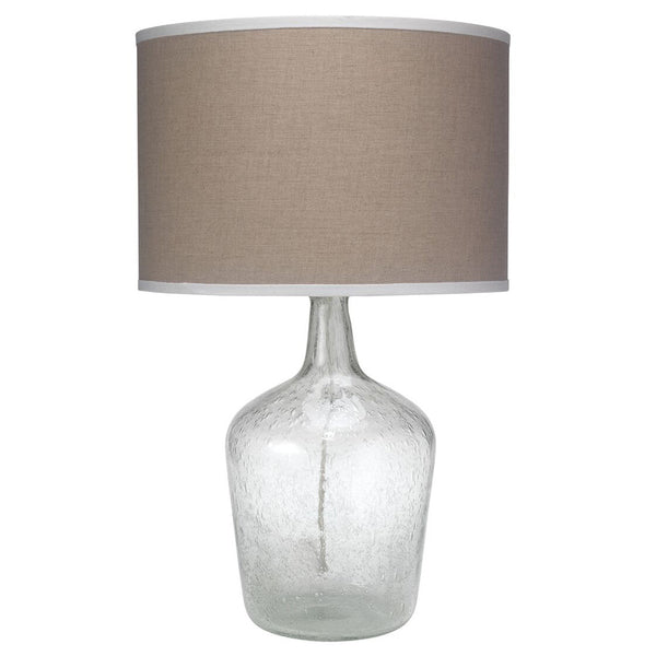 Seeded Glass Plum Jar Table Lamp with Drum Shade