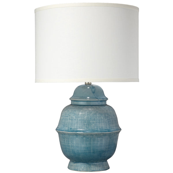 Ceramic Table Lamp with Drum Shade – Blue