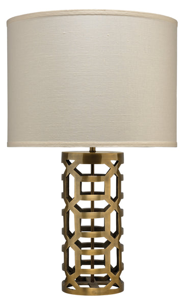 Labyrinth Table Lamp in Antique Brass Metal with Large Drum Shade in Sea Salt Linen