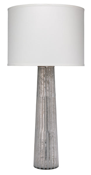Striped Silver Pillar Table Lamp with Large Drum Shade in White Silk