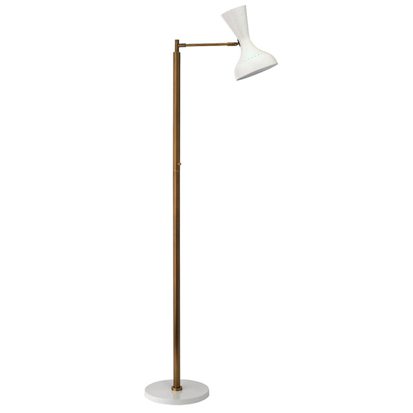 Swing Arm Floor Lamp with Hourglass Hood – White