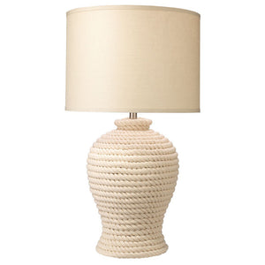 White Rope Urn Table Lamp with Drum Shade
