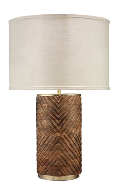 Refinery Table Lamp in Hand Carved Wood & Matte Brass Metal with Classic Drum Shade in Stone Linen
