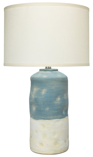 Sedona Table Lamp in Blue and White Ceramic with Medium Drum Shade in Sea Salt Linen