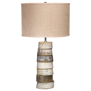 Stacked Discs Table Lamp with Drum Shade – Horn