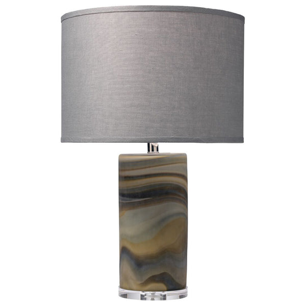 Multicolored Swirl Glass Table Lamp with Drum Shade – Grey Linen