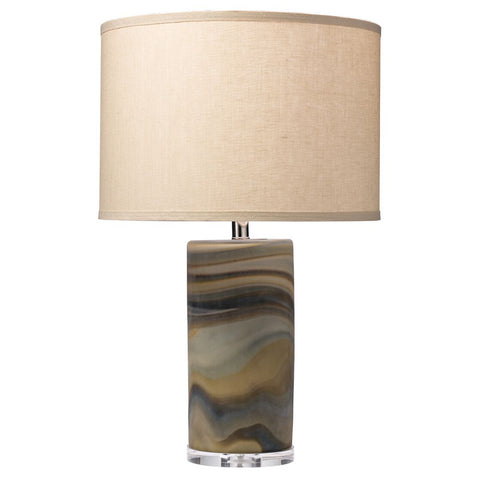 Multicolored Swirl Glass Table Lamp with Drum Shade – Stone Linen