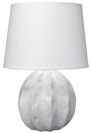 Urchin Table Lamp in Matte White with Large Cone Shade in White Linen