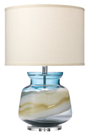 Ursula Table Lamp in Blue Swirl with Classic Drum Shade in Sea Salt Linen