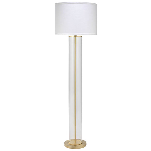 clear glass column floor lamp with drum shade brass scenario home. Black Bedroom Furniture Sets. Home Design Ideas