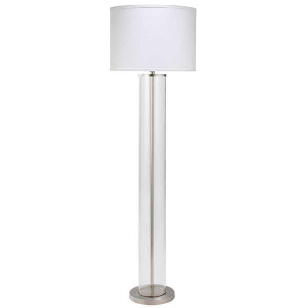 Clear Glass Column Floor Lamp with Drum Shade – Nickel