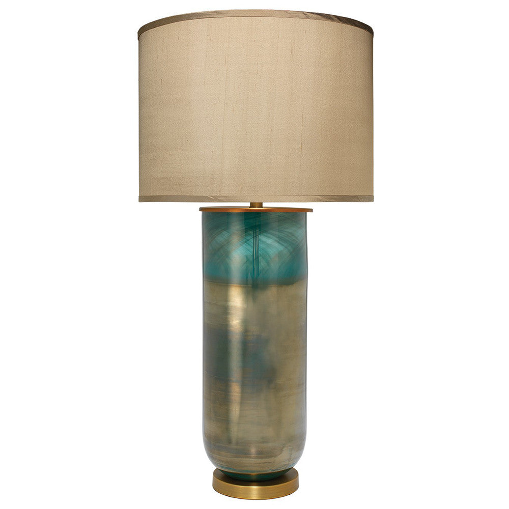 Handblown Glass Column Table Lamp with Drum Shade – Aqua Ombre