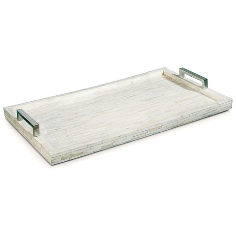 Regina Andrew White Bone Tray with Polished Nickel Handles