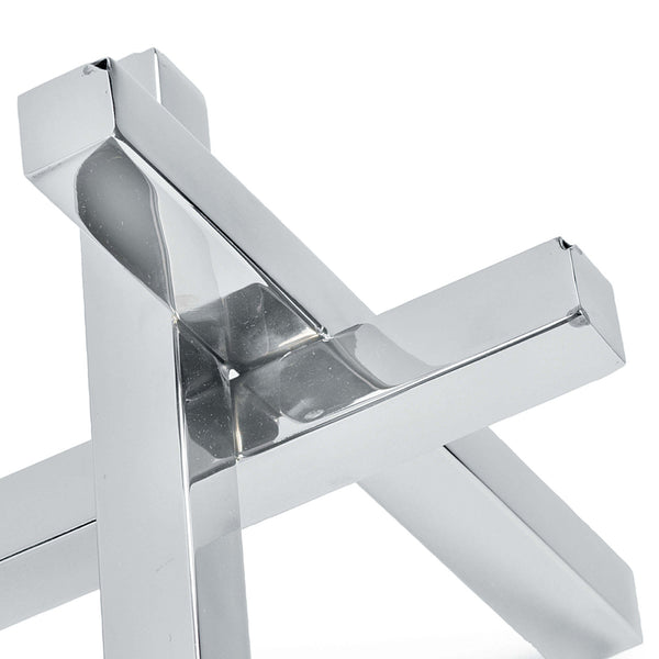 Regina Andrew Intersecting Bars Modern Sculpture – Polished Nickel