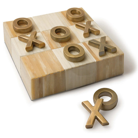 Regina Andrew Bone Tic Tac Toe Board with Metal Pieces – Brass