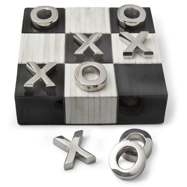 Regina Andrew Bone Tic Tac Toe Board with Metal Pieces – Polished Nickel