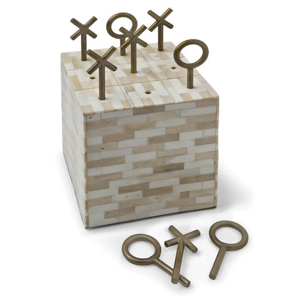 Regina Andrew Tic Tac Toe Cube with Metal Pieces – Multi-Tone Bone