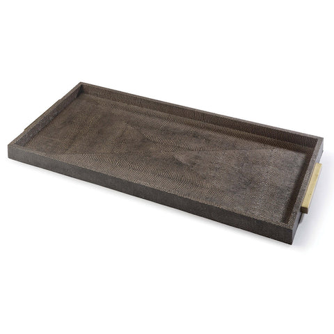 Regina Andrew Rectangle Faux Shagreen Tray – Vintage Brown Snake