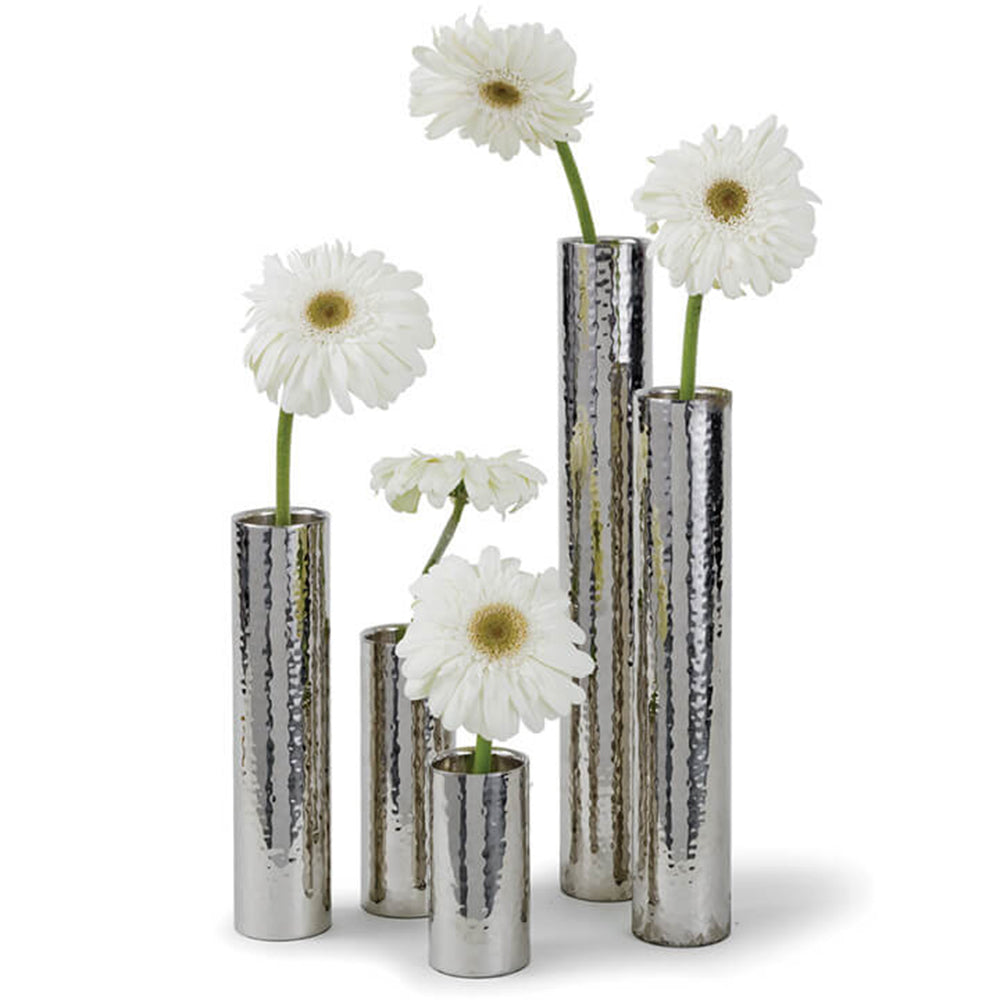 Regina Andrew Set of 5 Hammered Metal Bud Vases – Polished Nickel