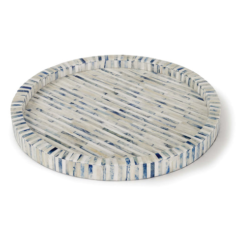 Regina Andrew Round 2-Color Bone Tray – Natural & Indigo