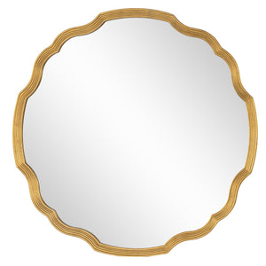 Distressed Gold Leaf Round Chippendale Mirror