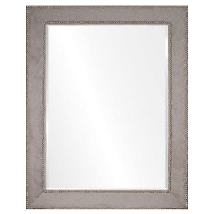Grey Hide & Silver Nailhead Mirror - Available in 4 Sizes