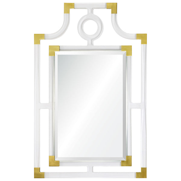 Acrylic Pagoda Mirror – Brass Accents